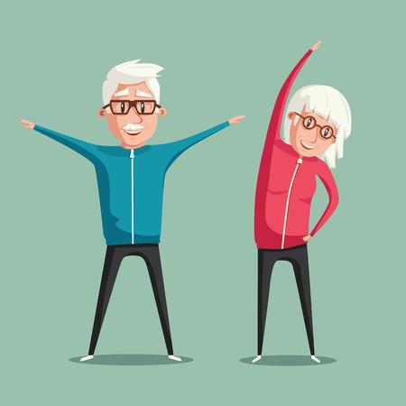 senior people and gymnastics elderly couple grandparents