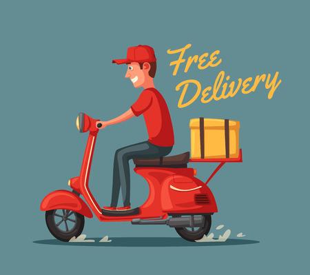 Ilustración de Fast and free delivery. Vector cartoon illustration. Food service. Retro scooter. - Imagen libre de derechos