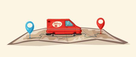 Illustration pour Delivery service by van, Car for parcel delivery in Cartoon illustration. - image libre de droit