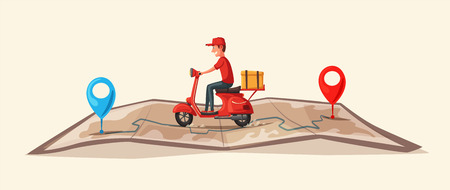 Ilustración de Fast and free delivery by scooter. Vector cartoon illustration. Food service. - Imagen libre de derechos
