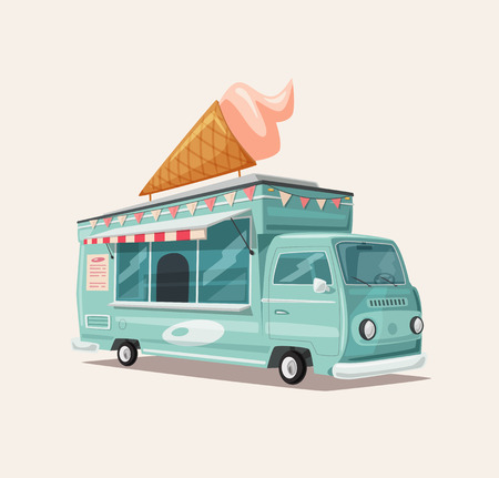 Illustration pour Retro street food van. Vintage ice cream truck. Cartoon vector illustration. For web and print - image libre de droit