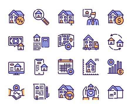 Illustration pour Real estate linear color vector icons set. House for rent and sale blue contour symbols. Moving, home renovation, realtor, mortgage. Commercial property outline illustrations collection - image libre de droit