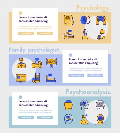 Illustration for Psychology items color linear icons set. Psychotherapy concept. Medical equipment symbols pack. Hypnosis, medicine, treatment. Mental health design elements. Isolated vector illustrations - Royalty Free Image