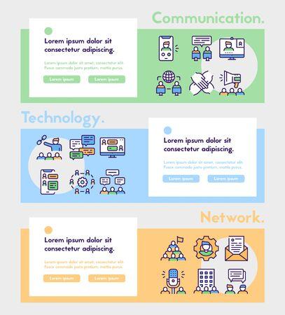 Illustration pour Set of teamwork related vector linear Icons. Communication concept. - image libre de droit