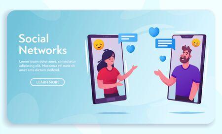 Illustration pour Vector banner friendly man and woman online chat - image libre de droit