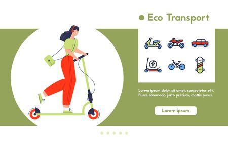 Illustration pour Vector banner illustration of urban eco transport - image libre de droit