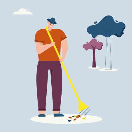 Illustration pour Man rakes autumn leaves, cleaning lawn. Farmer works on farm. Vector character illustration of village lifestyle, agriculture - image libre de droit