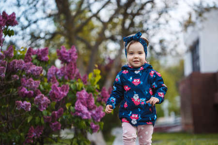 Photo for A little girl stands near a lush bush of lilacs, she smiles and sniffs purple flowers - Royalty Free Image