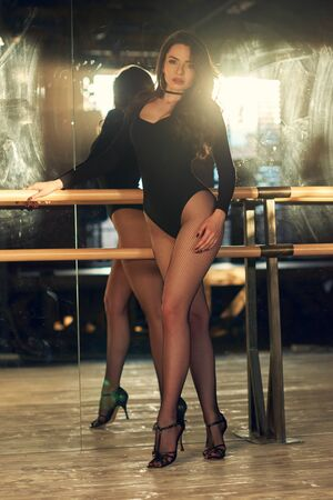 Foto de 90s fashion style portrait. Sexy woman in black bodysuit, grid pantyhose, high heels dancing in class using belay. Sensual girl with long wavy hair - Imagen libre de derechos