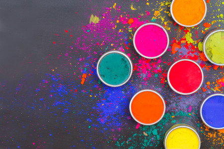 Photo for Indian Holi festival colours with text space - Royalty Free Image