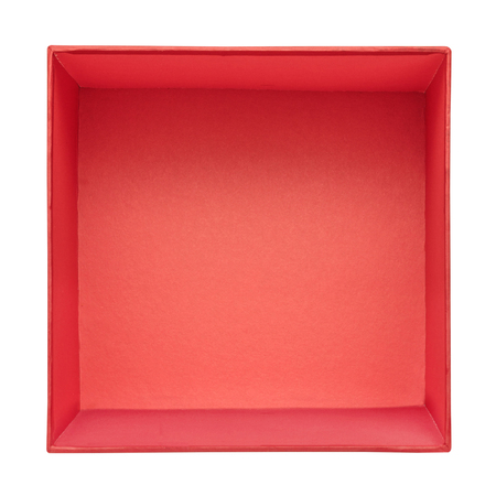 Foto de Flat lay of empty red gift box isolated on white background. Red cardboard box template. Top view - Imagen libre de derechos