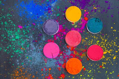 Photo for Flat lay of Indian Holi festival colors. Abstract colorful background - Royalty Free Image