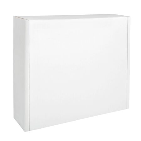 Foto für White thin cardboard box isolated on white background. Blank box packaging mockup. Front view - Lizenzfreies Bild