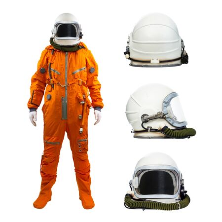 Photo for Astronaut with set of helmets isolated on a white background. Cosmonaut wearing space suit with three helmets on white background - Royalty Free Image