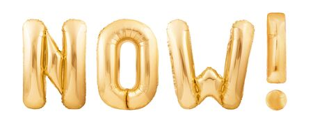 Photo pour Word NOW! with exclamation mark made of golden inflatable balloons isolated on white background - image libre de droit