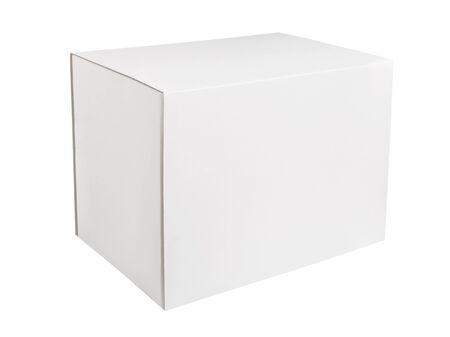Photo for White rectangular cardboard box isolated on white background. Blank white box on white background - Royalty Free Image
