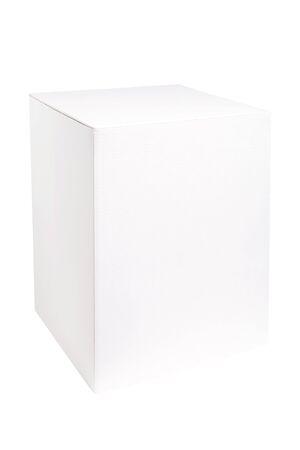 Foto für Blank white vertical box mockup. White cardboard box isolated on white background - Lizenzfreies Bild