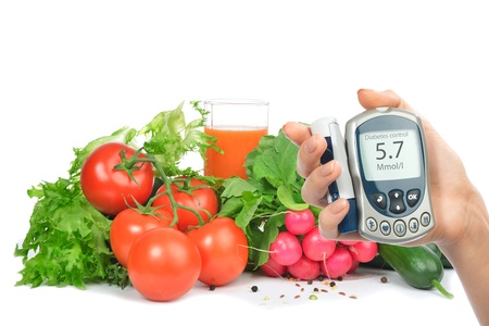 Diabetes concept glucose meter in hand and healthy organic food