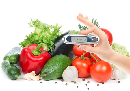 Diabetes concept glucometer for glucose level blood test in hand and healthy organic food on a white background