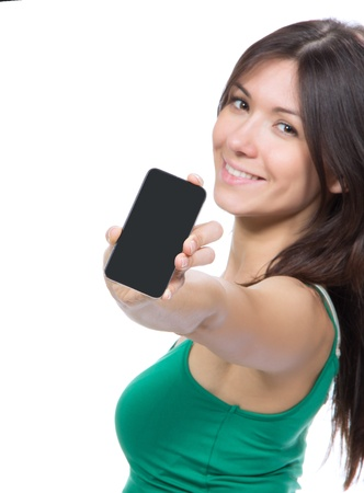 Young Pretty Woman Showing display of her new touch mobile cell phone. Focus on the hand and phone