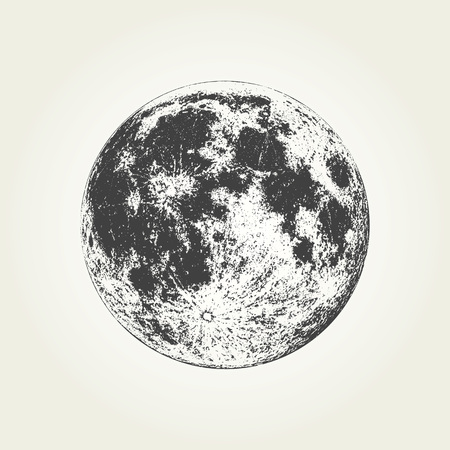 Illustration pour Realistic full Moon. Detailed monochrome vector illustration - image libre de droit