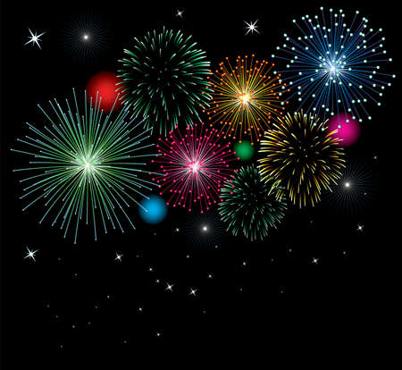 vector fireworks background with stars and lights