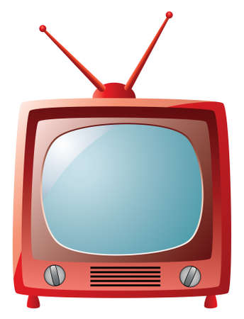 vector red retro tv set