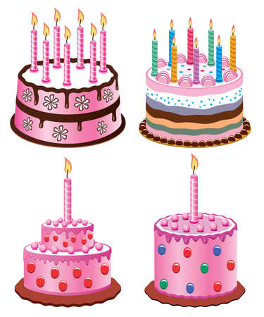 vector birthday cakes with burning candles