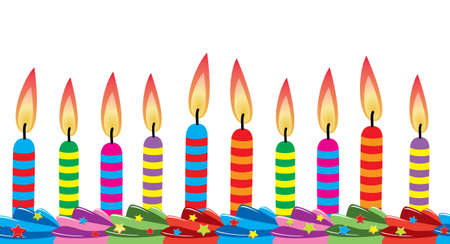 row of birthday candles on cake