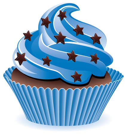 blue cupcake with chocolate sprinkles
