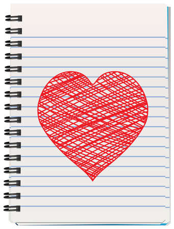 vector illustration of notepad with hand drawn heart