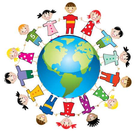 illustration of children around the world