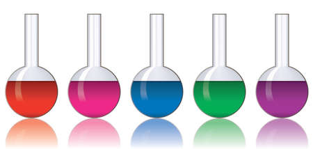 vector set of colorful laboratory glassware