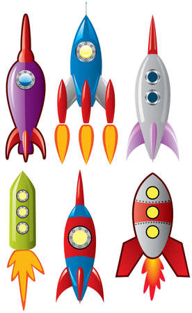 set of stylized space retro rocket ships