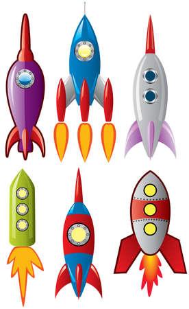 Illustration pour set of stylized space retro rocket ships - image libre de droit