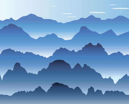 vector illustration of blue morning mist in the mountains