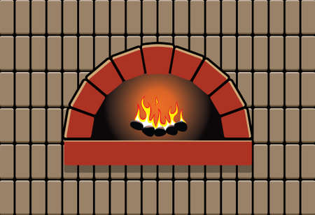 oven with burning fire
