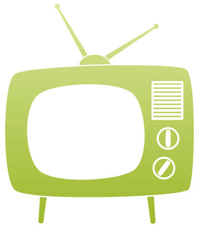 symbol of green retro tv set