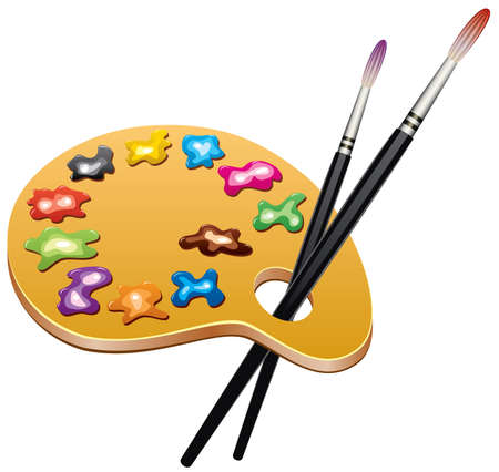 wooden art palette with blobs of paint and brushes