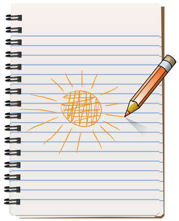 Illustration of notepad with pencil drawning the sun