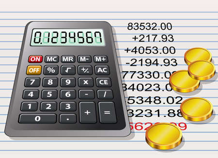 calculator, golden coins and a sheet of paper with calculation