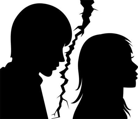 vector silhouette of broken relationship between young man and woman