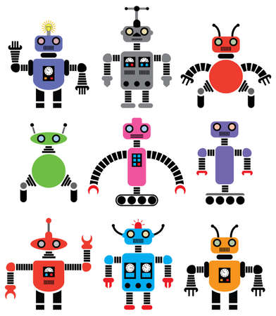 set of robots of various shapes and colors
