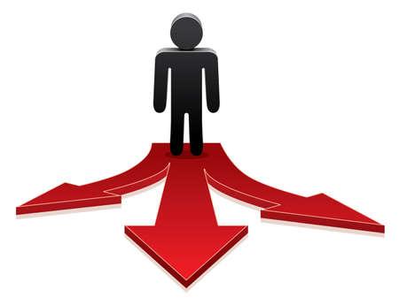 Illustration pour vector icon of a man making a choice on crossroads  - image libre de droit