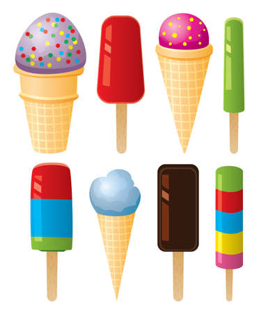 vector clipart of colorful icecream and popsicles