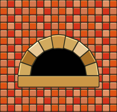 vector illustration of brick oven with empty hearth
