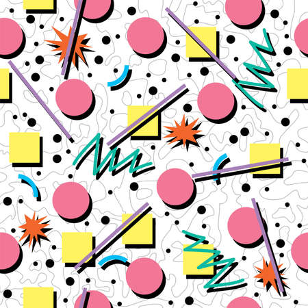 Photo for vector seamless 80s or 90s chaotic background pattern - Royalty Free Image
