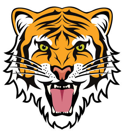 Illustration for stylized face of angry tiger - Royalty Free Image