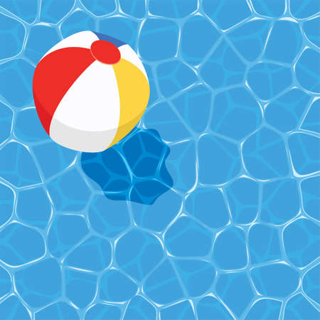 Illustration for vector summer background with ball floating on water - Royalty Free Image