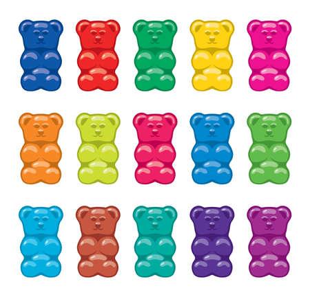 Illustration pour vector gummy bear candies isolated on white background - image libre de droit